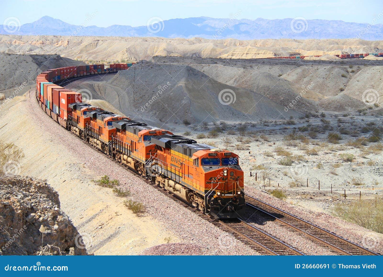 USA CaliforniaMojave Desert Long BNSF Freight Train Editorial - Bnsf railway us map