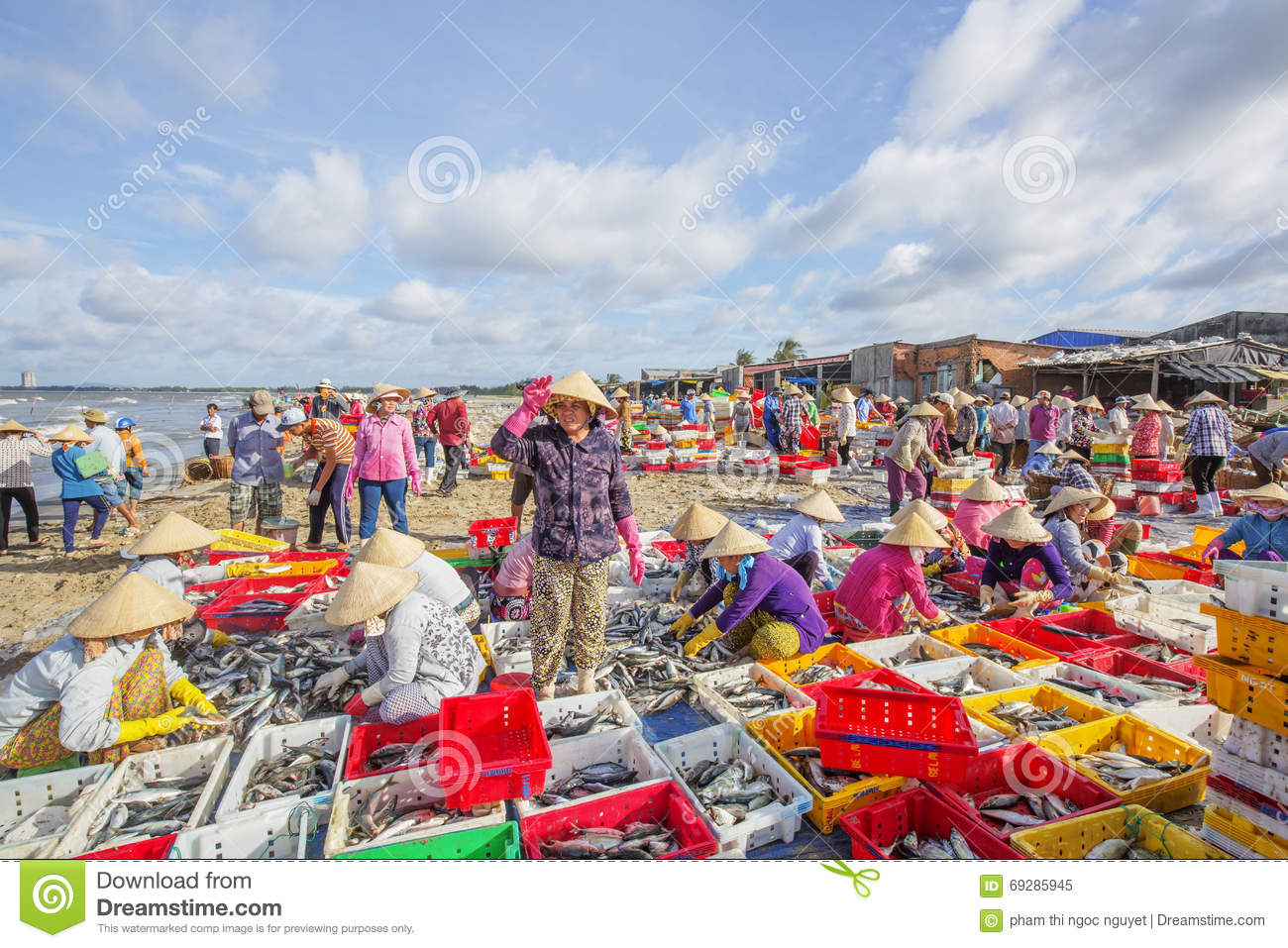 Long Hai Fish Market On The Beach Editorial Image Image