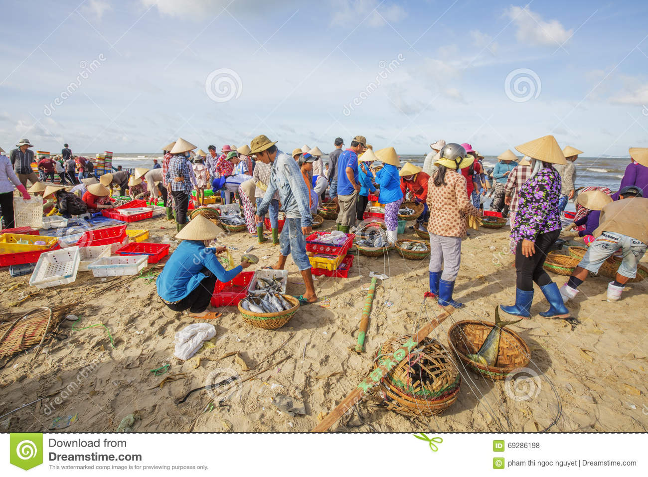 Long hai fish market on the beach editorial stock photo for Closest fish market
