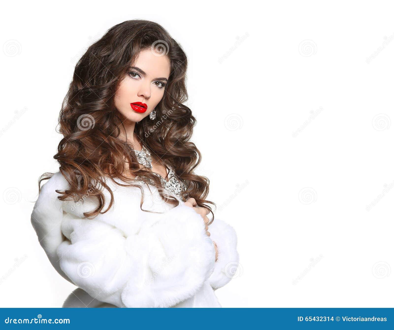 Long Hair Beautiful Woman In Luxury White Mink Fur Coat Fashio Stock Photo Image 65432314