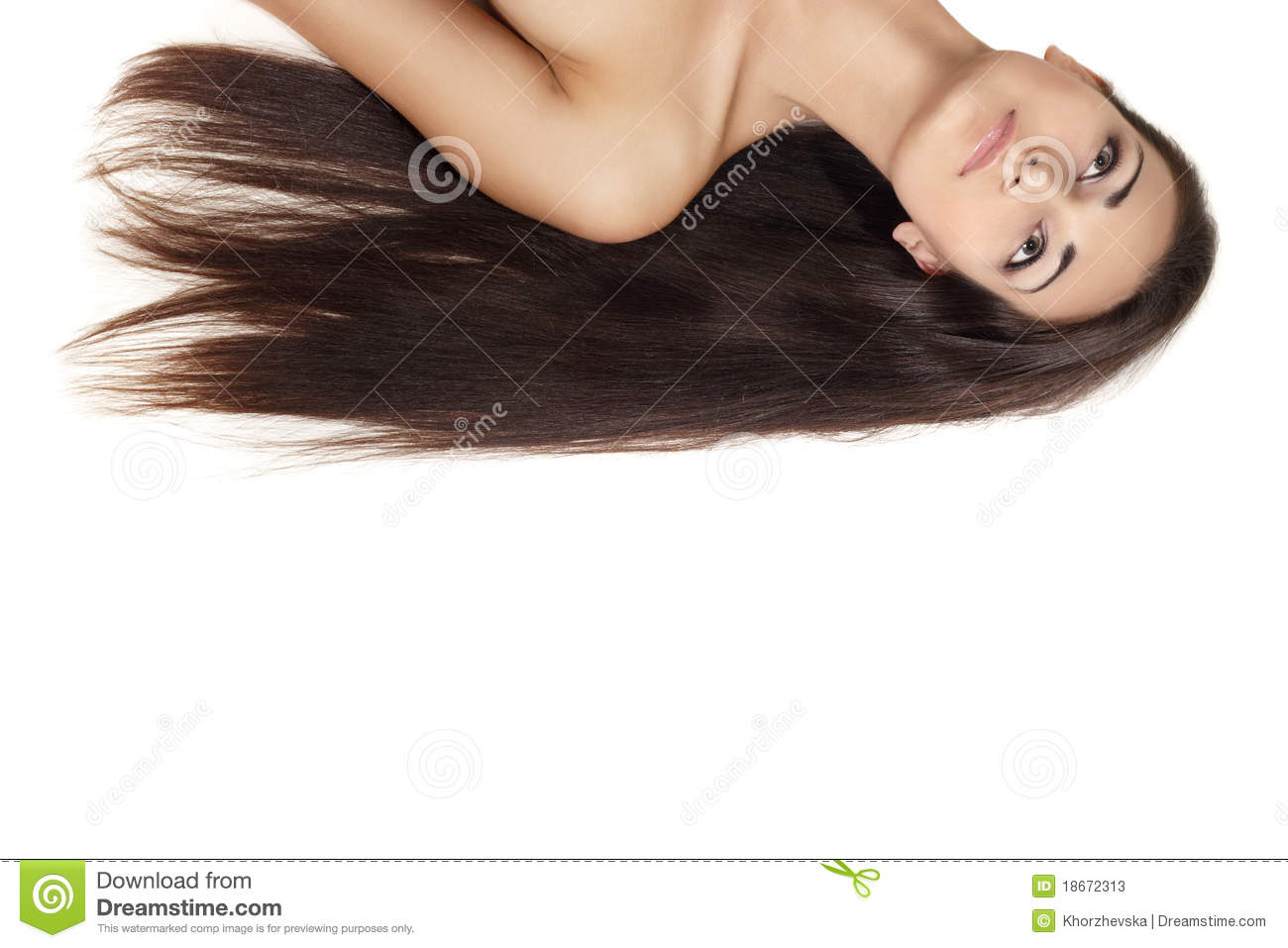 Long hair beautiful young brunette isolated on white background