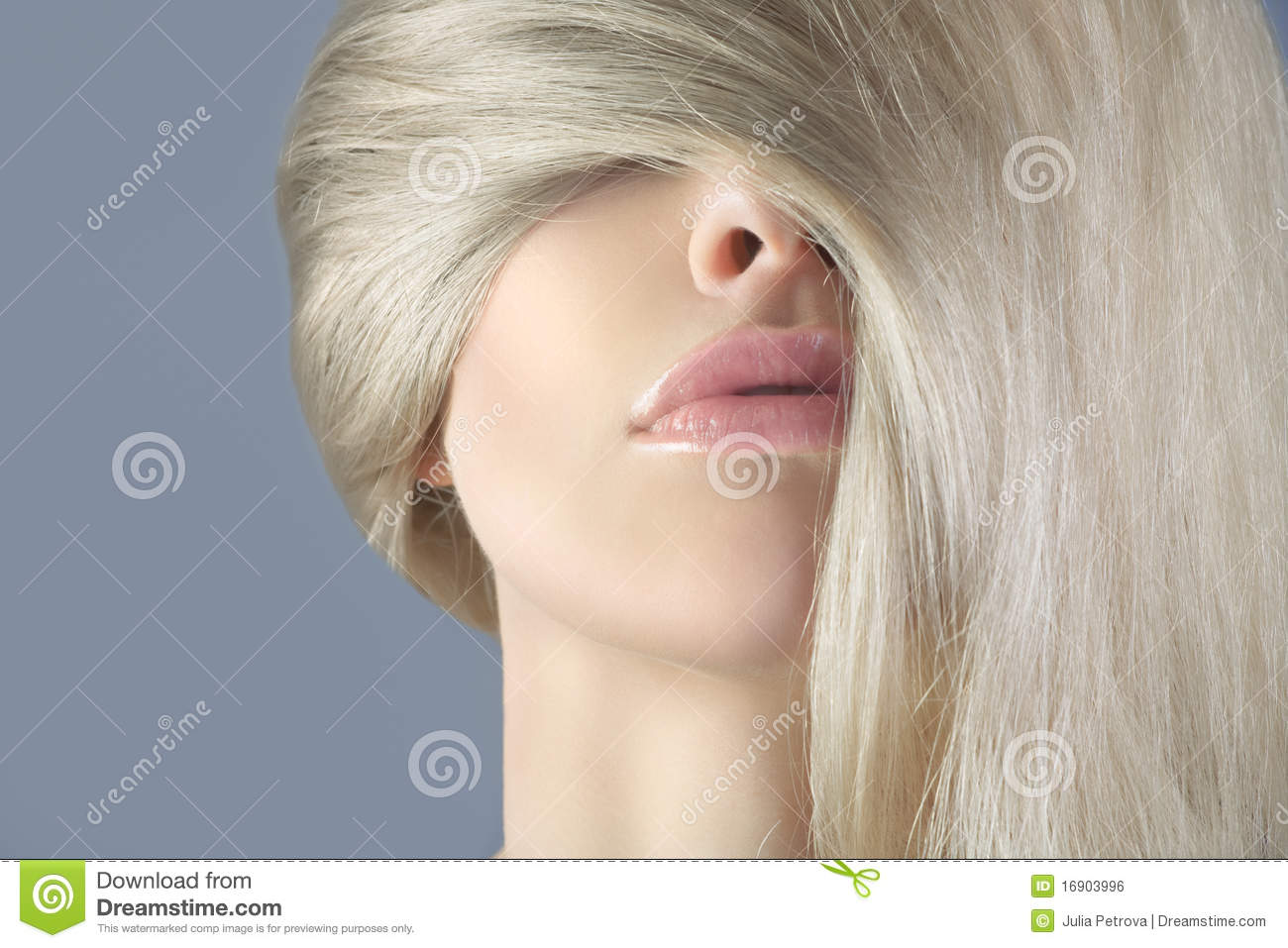 Long Hair Blonde In The Face Of A Woman Stock Photo Image Of