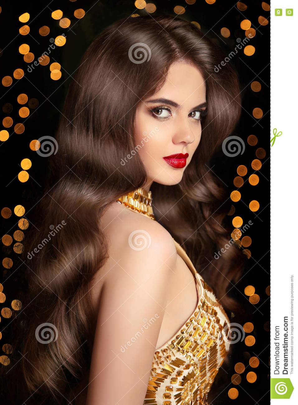 Christmas Hairstyles For Black Hair.Long Hair Brunette Girl With Shiny Wavy Hairstyle And Red