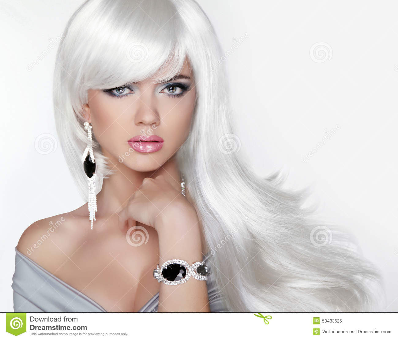 Long Hair Fashion Blond Girl With White Wavy Hairstyle