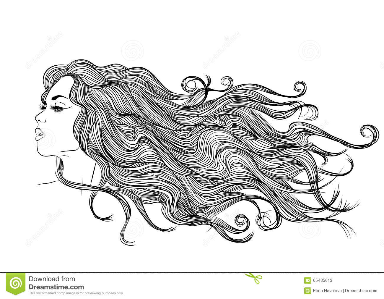 Long Hair Girl Profile Outline Monochrome Drawing Stock