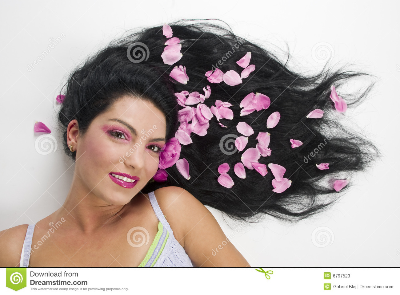 Long hair with pink rose petals