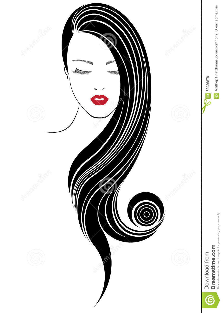 Hair Style Icons : Long Hair Style Icon, Logo Women Face Stock Illustration - Image ...