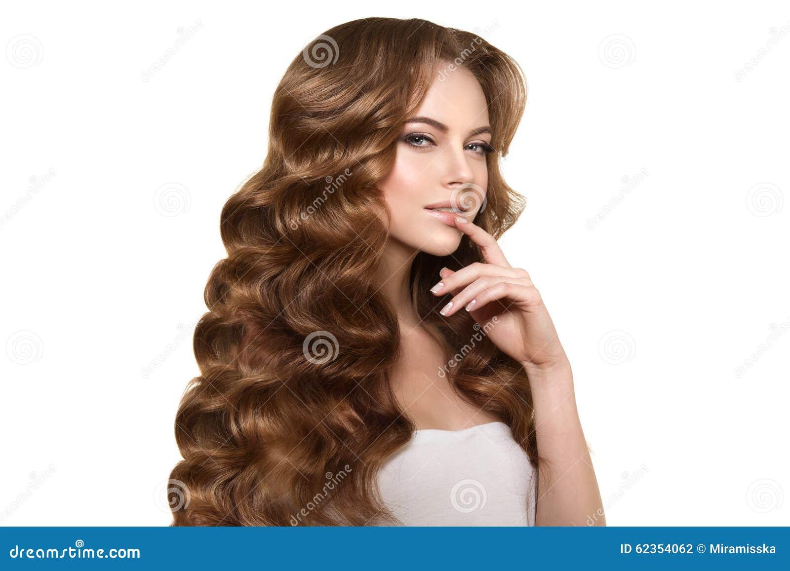 Long Hair. Waves Curls Hairstyle. Hair Salon. Updo. Fashion Mode Stock ...