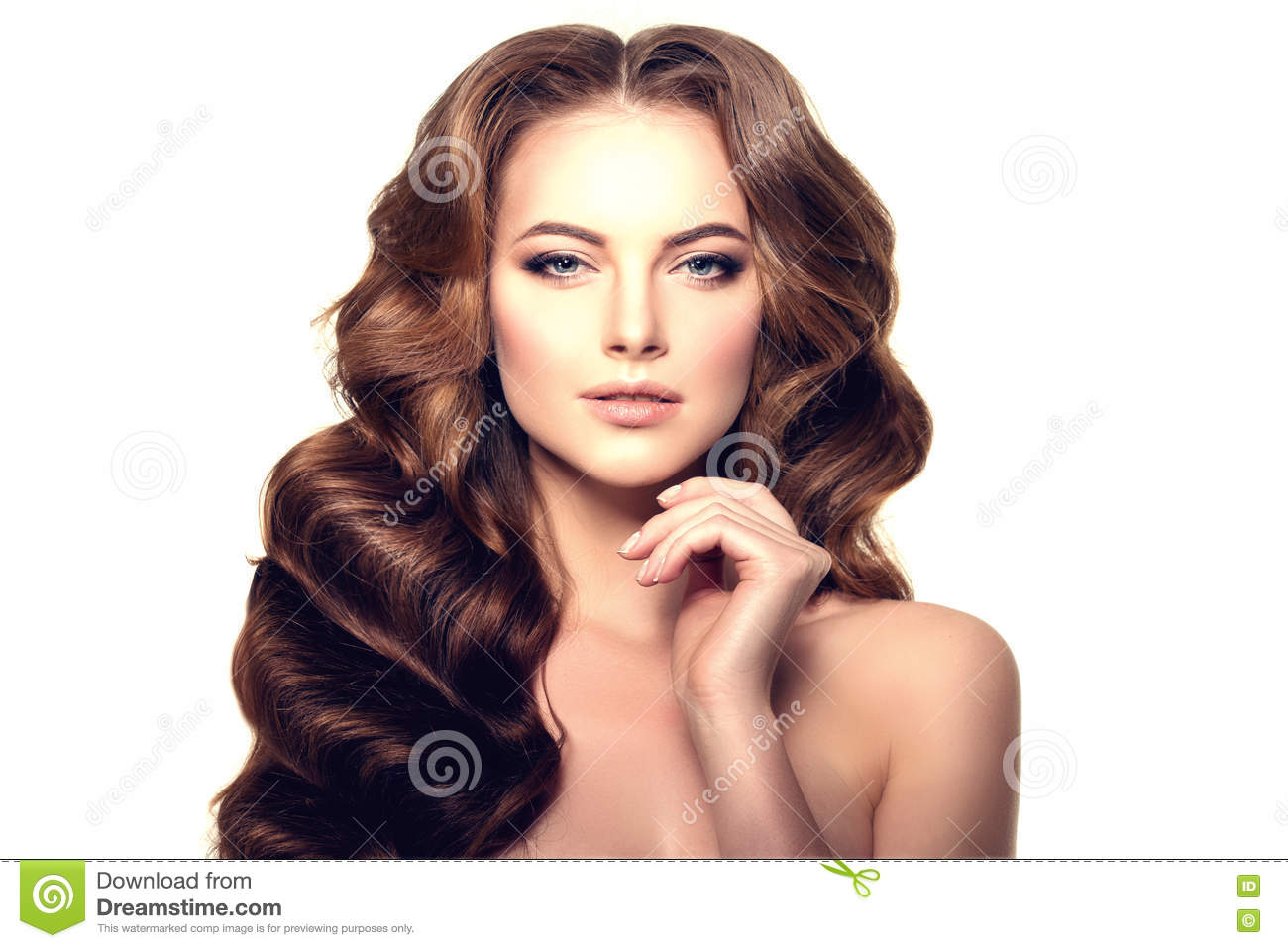 Long Hair Waves Curls Hairstyle Hair Salon Updo Fashion Mode Royalty Free Stock Photo