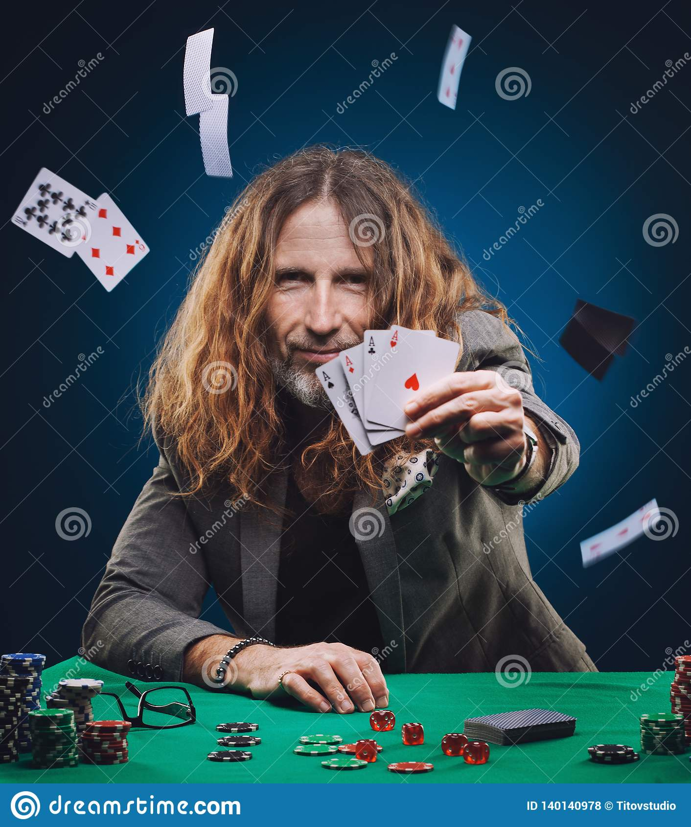 Long Haired Handsome Man Playing Poker In A Casino Stock Photo Image Of Handsome Portrait 140140978