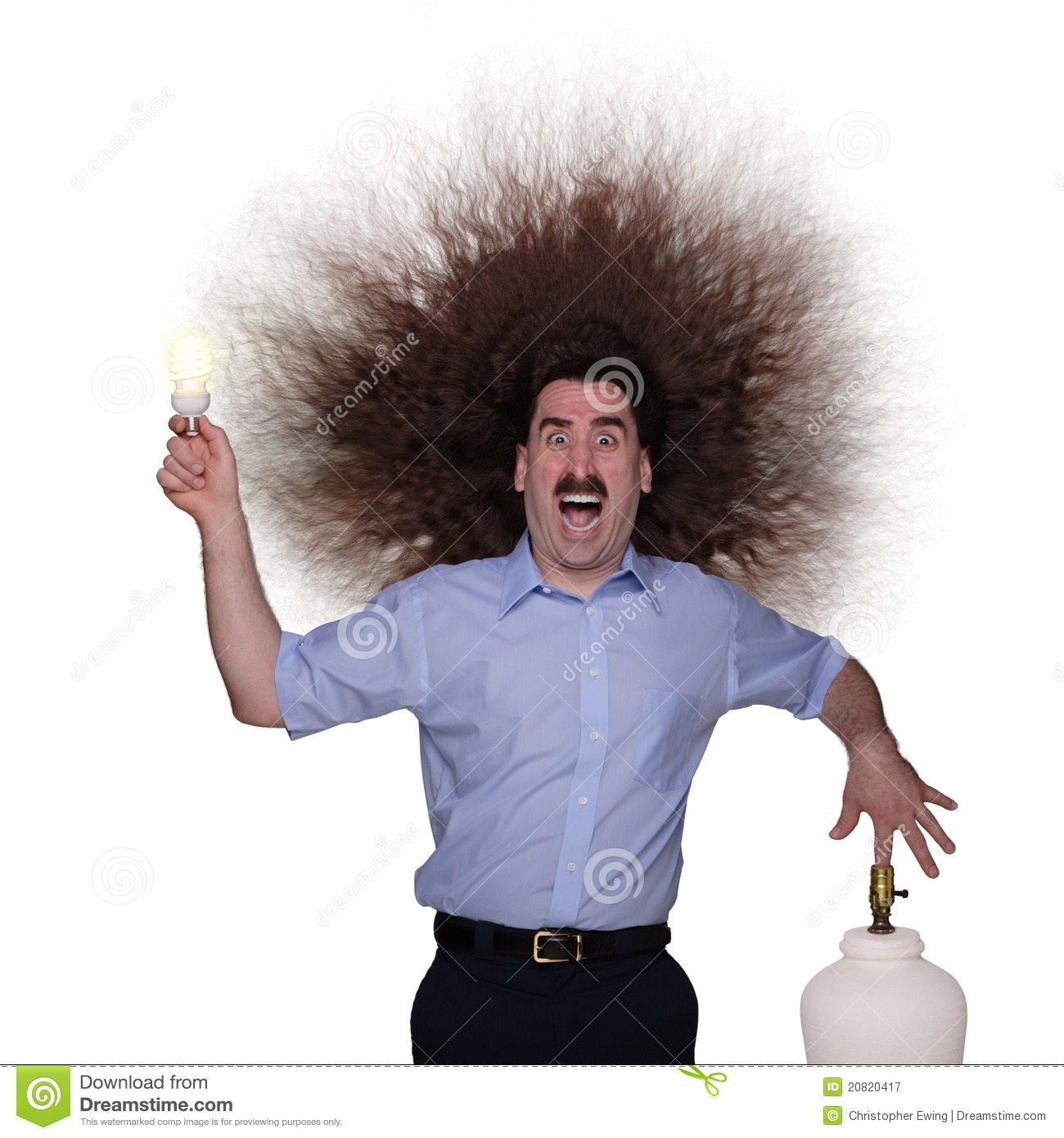 Long Haired Man Being Electrocuted 1 Royalty Free Stock