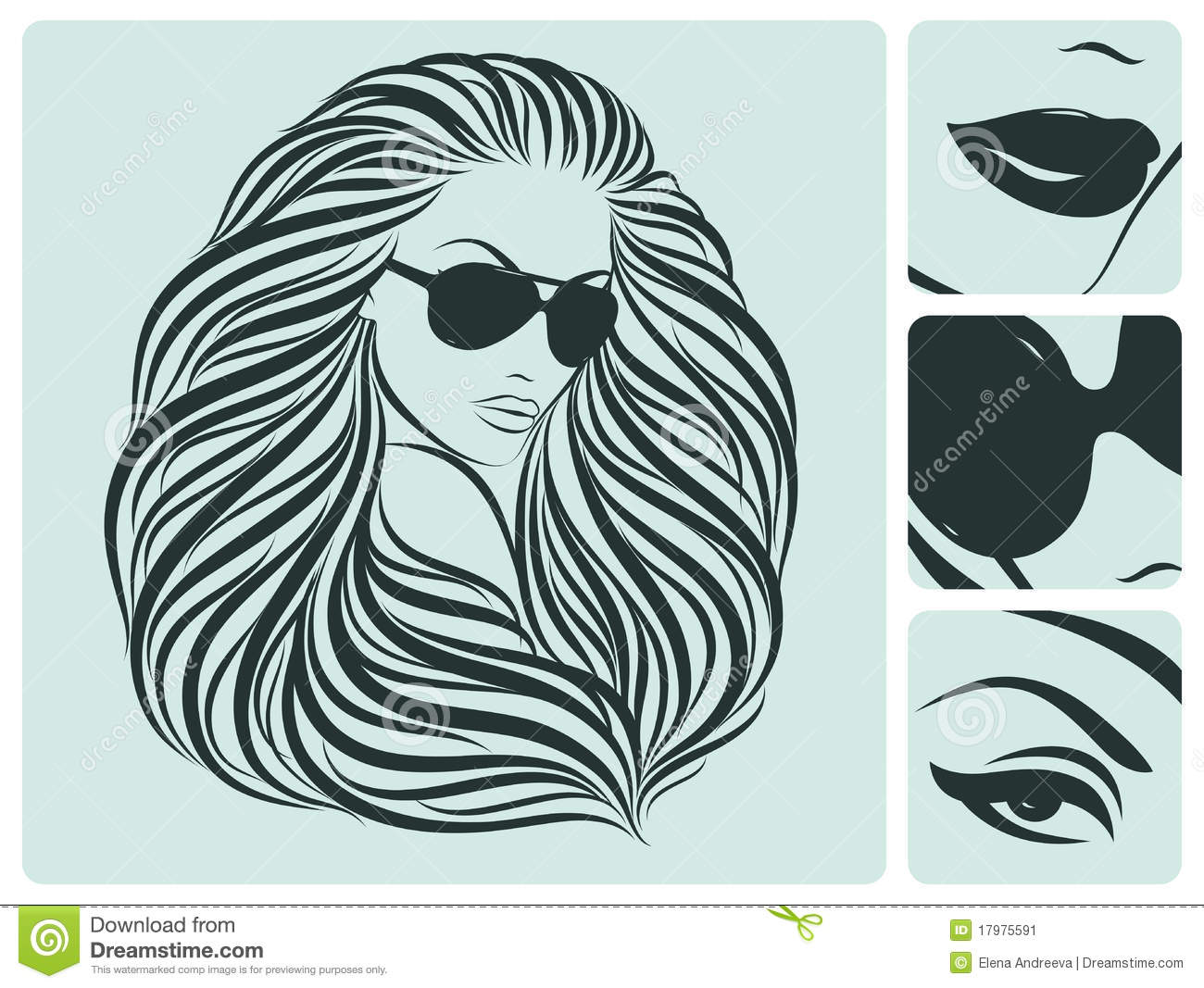 Hairstyle Vector: Long Hairstyle. Vector Illustration. Stock Vector