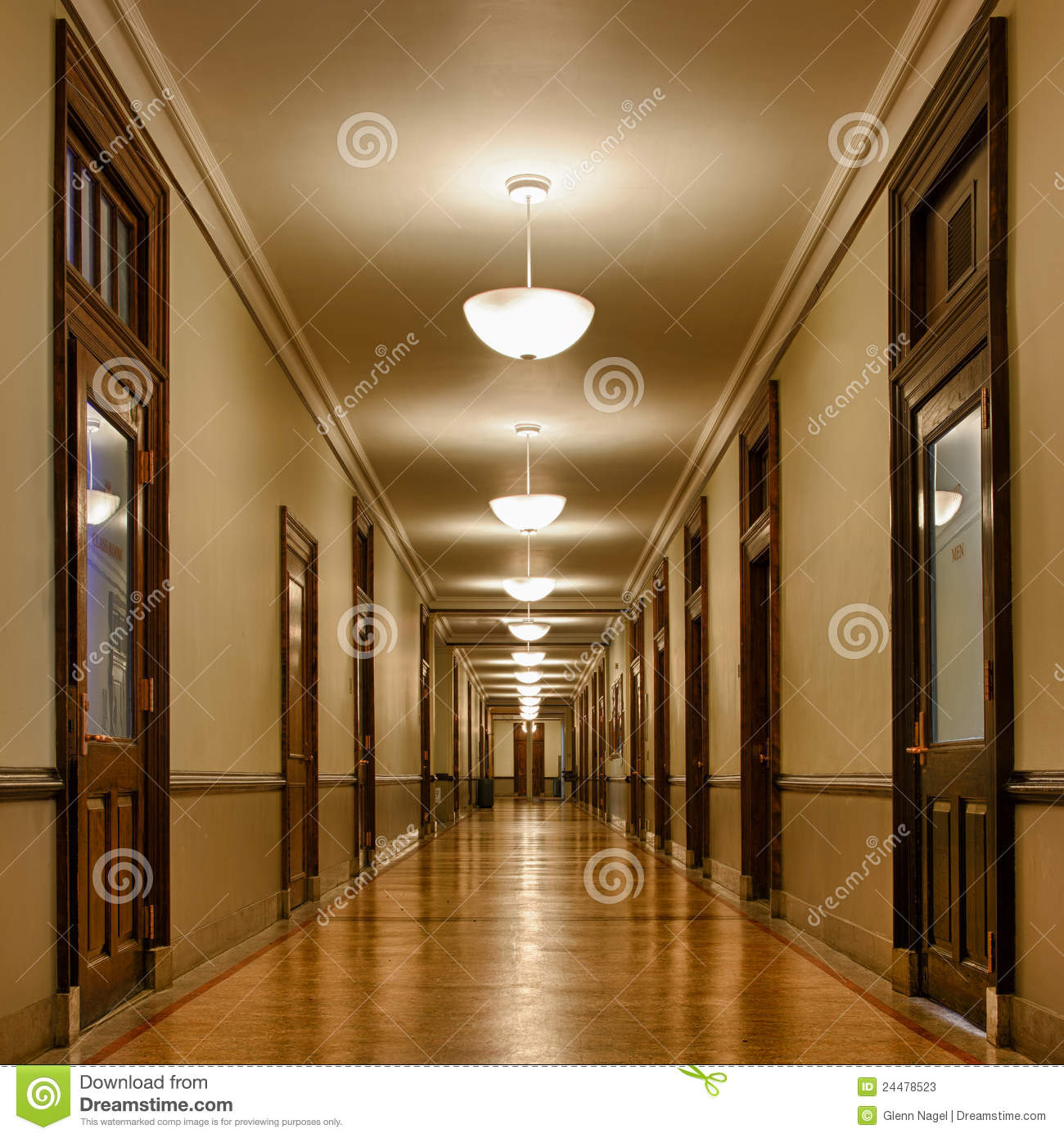 Long Hallway Of Classrooms Stock Photos Image 24478523