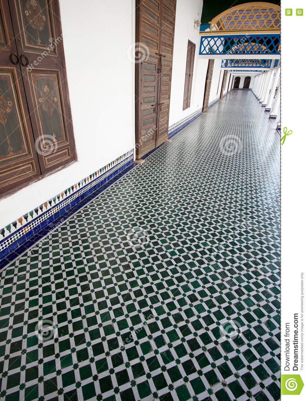 Long Hallway With Mosaic Tiled Floor In A Moroccan Palace Stock