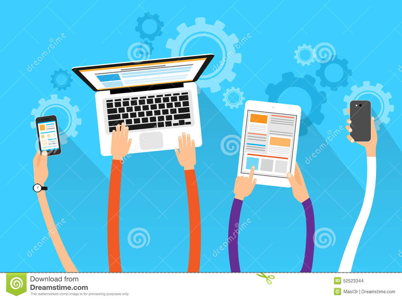 Long Hands Hold Device Electronics Gadget Concept Stock Vector ...
