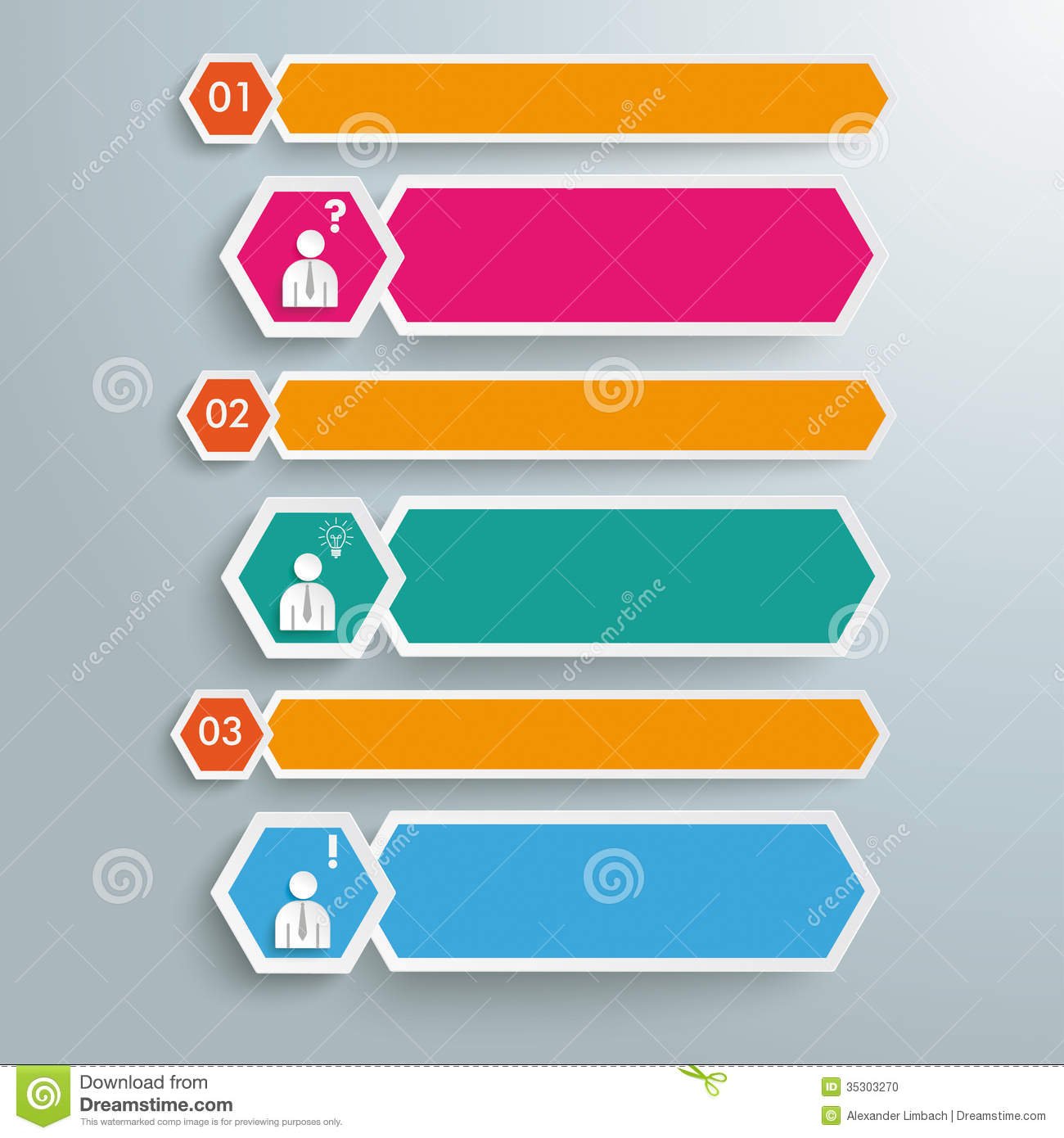 Infographic design on the grey background eps 10 vector file - Long Hexagons Banner 3 Steps Piad Stock Photo Image