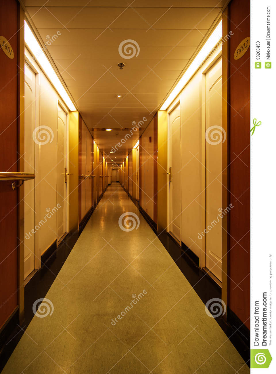 Long Hotel Hallway Stock Photo Image 33200450