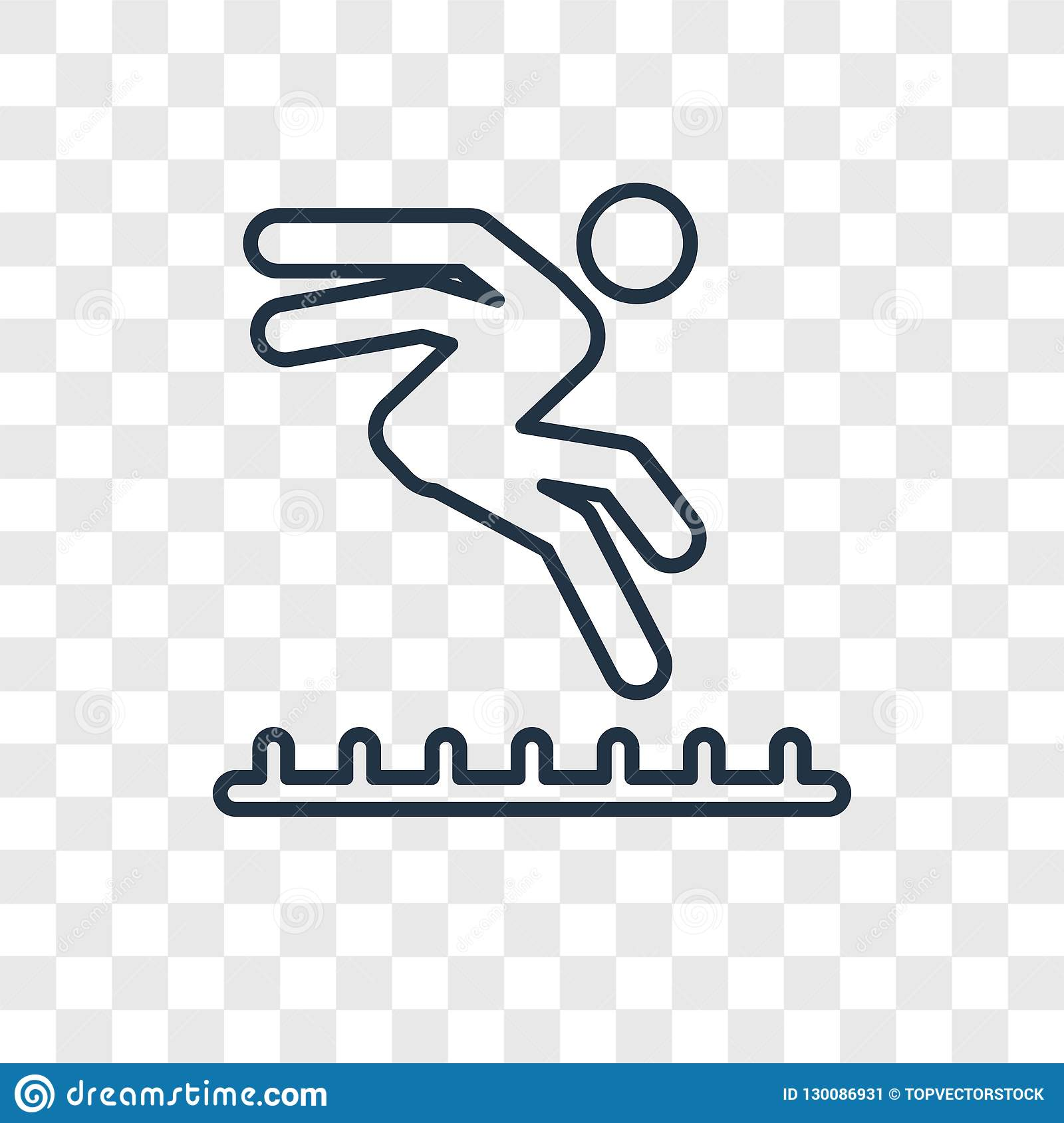 Long jump concept vector linear icon isolated on transparent background long jump concept transparency concept in outline style