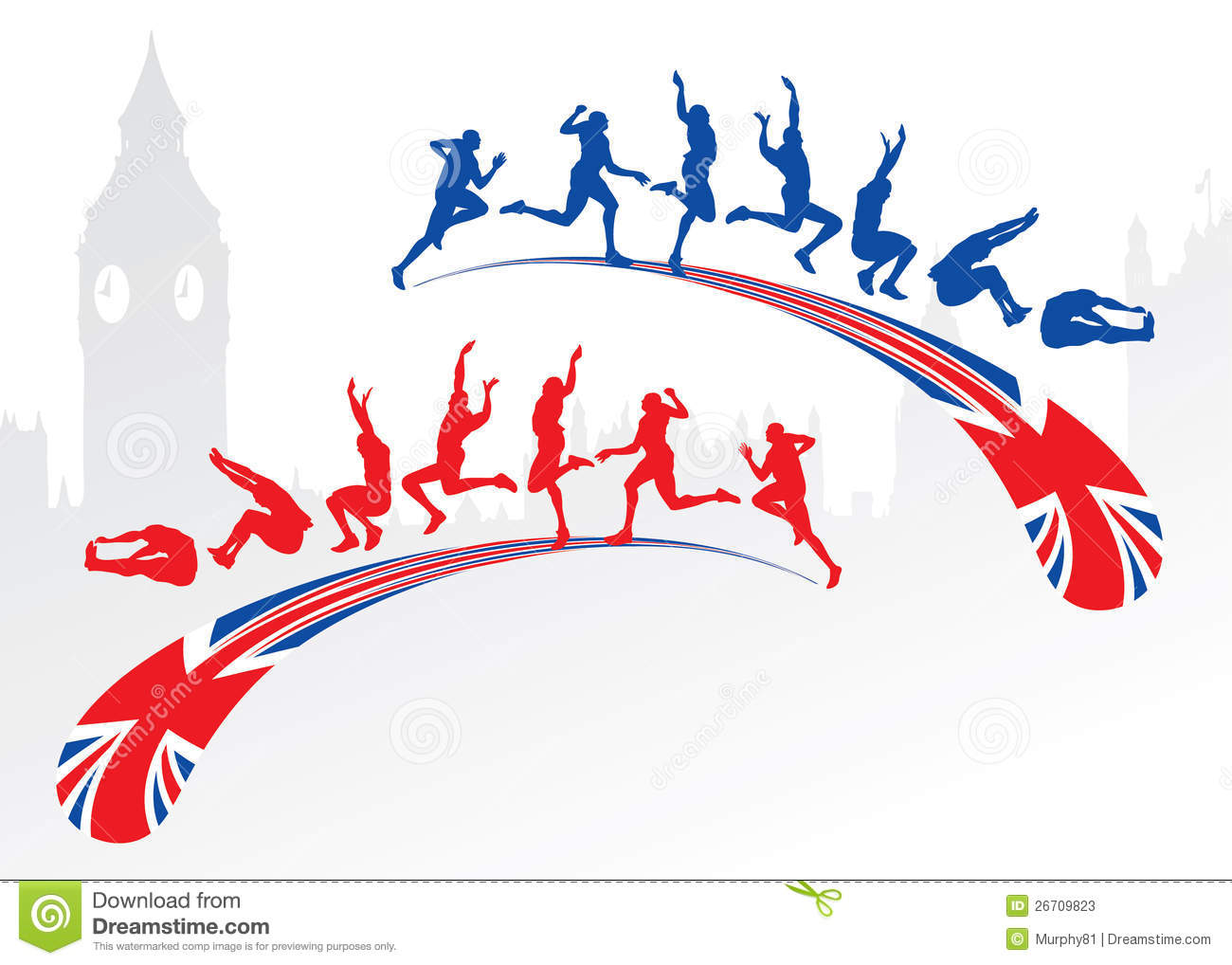 Long Jump With Great Britain Flag Stock Photos Image
