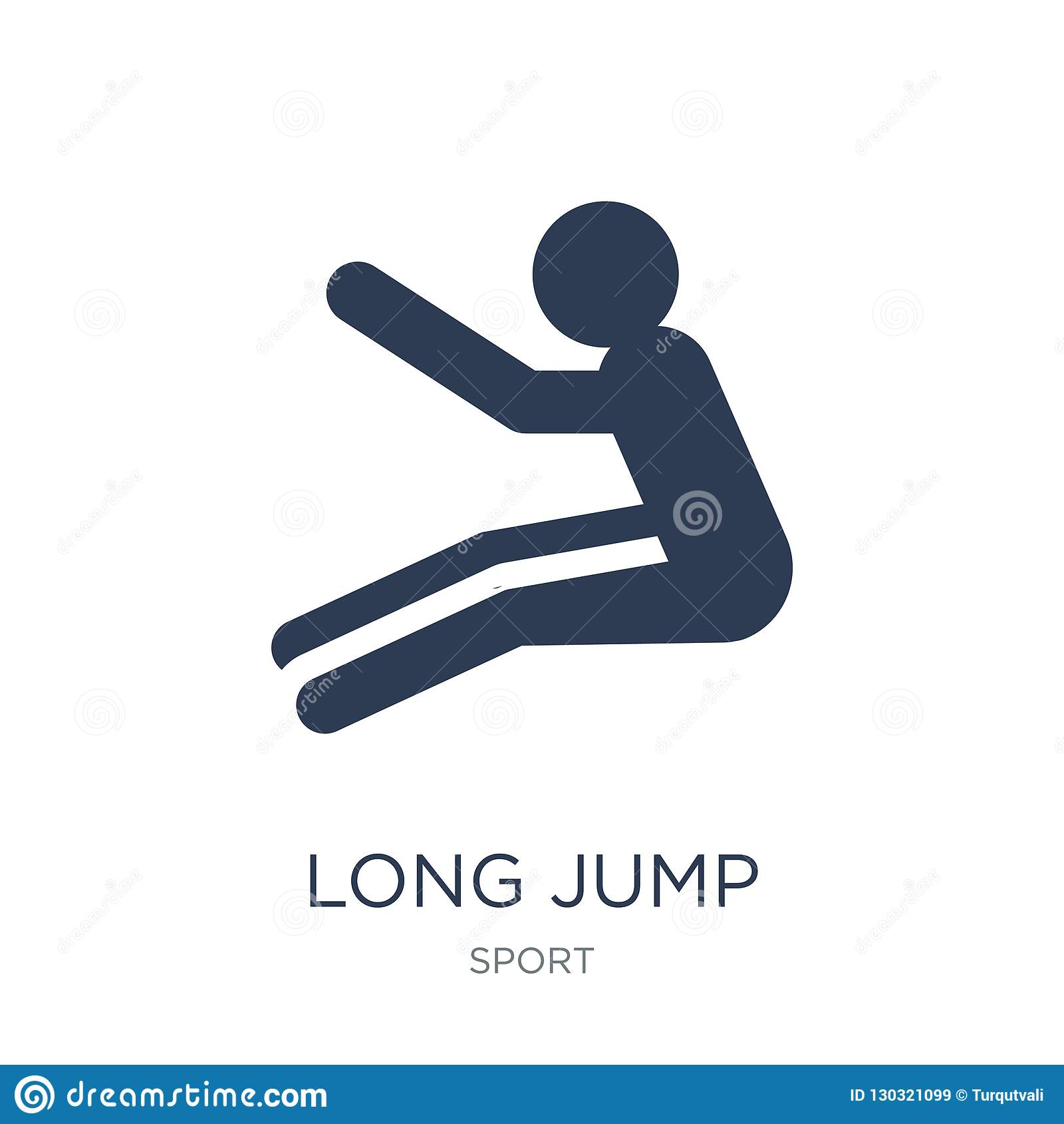 Long jump icon trendy flat vector long jump icon on white background from sport collection