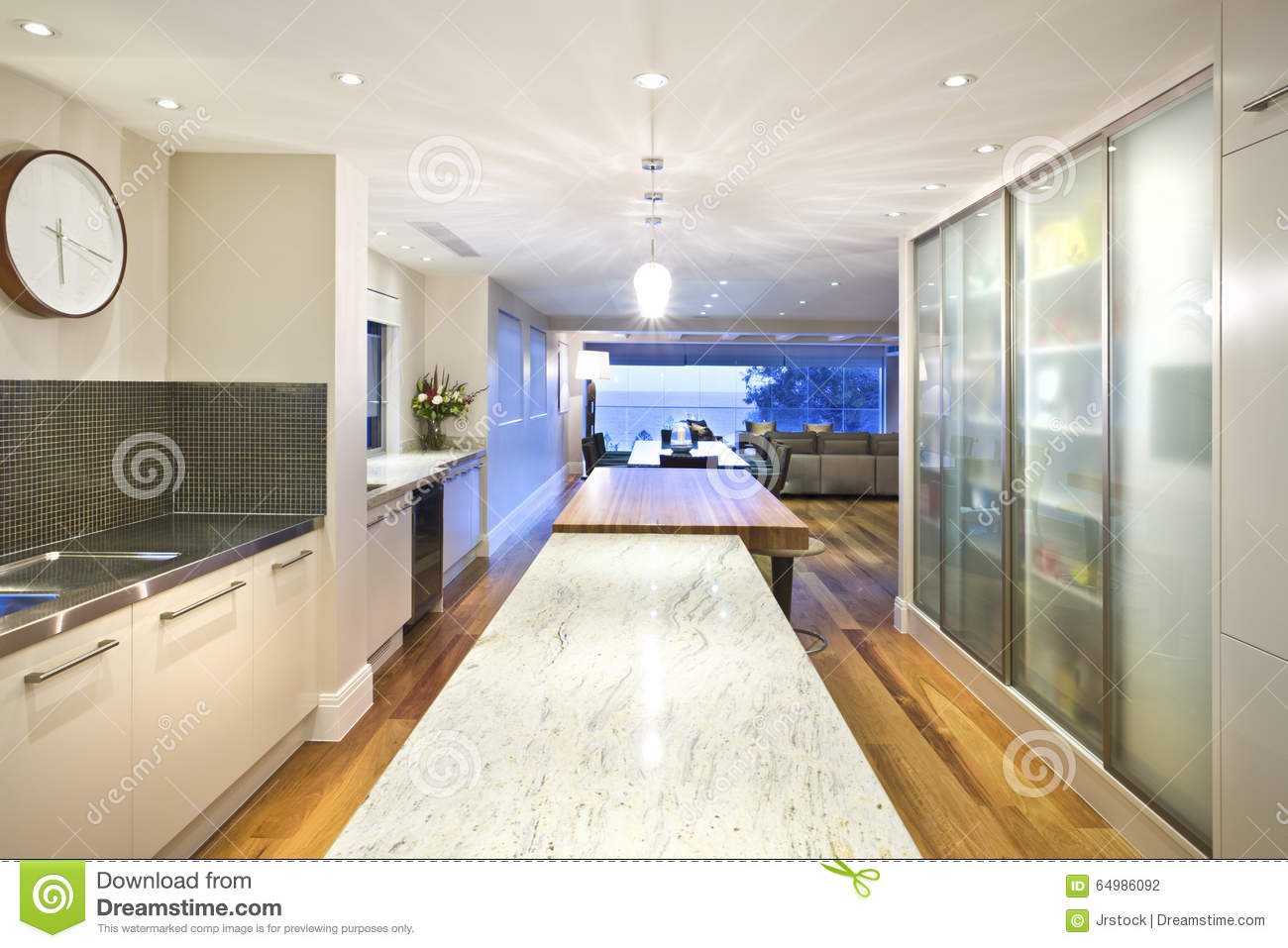 Long Kitchen Island And A Table Editorial Photography ...