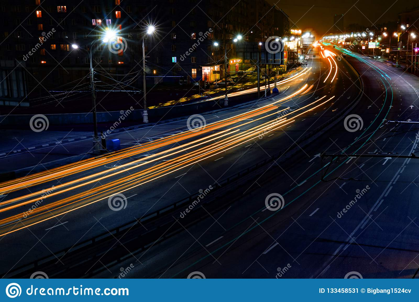 Long exposure lines on the road