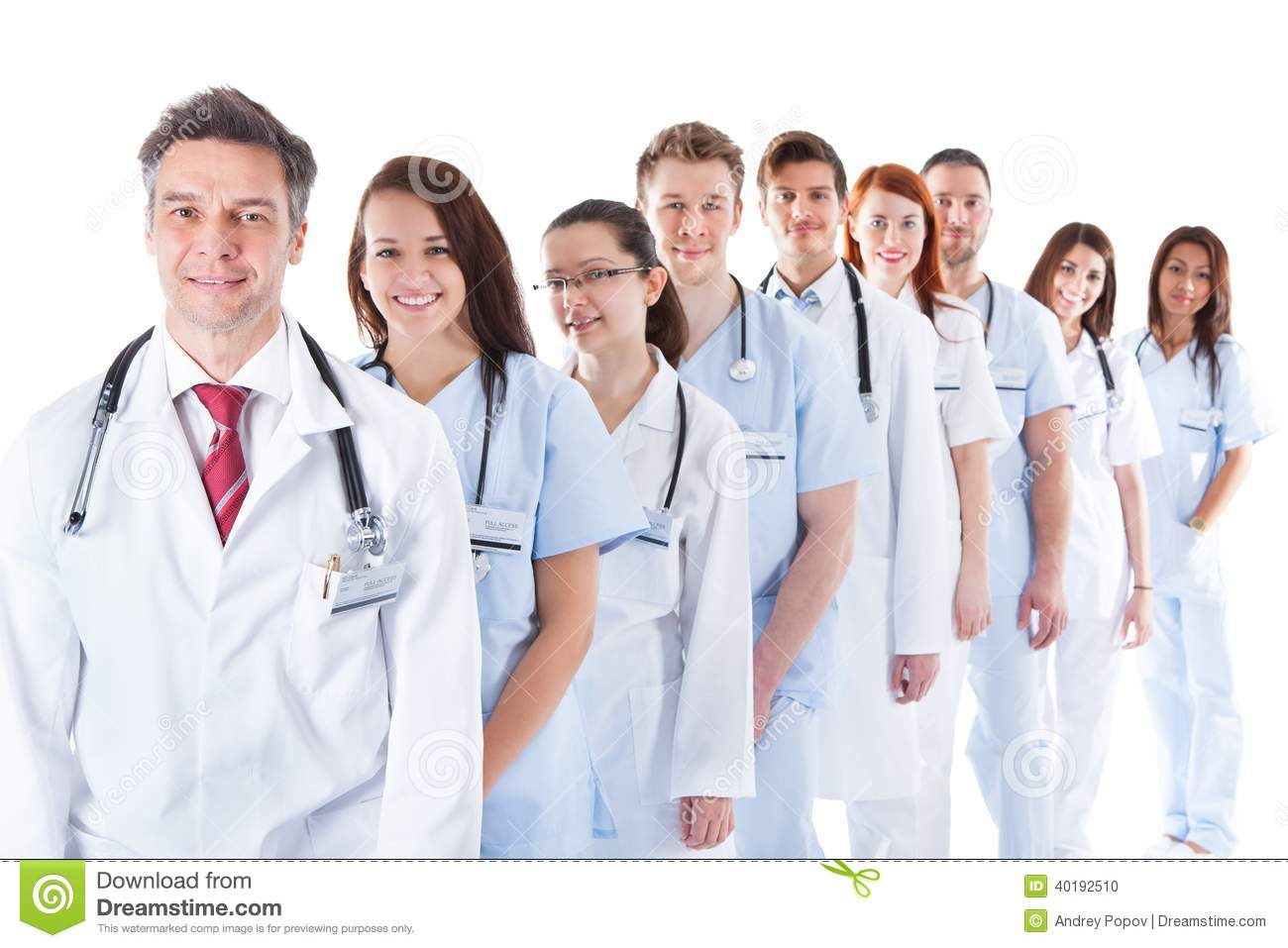 Group Of Doctors Clipart Long Line Of Smiling D...