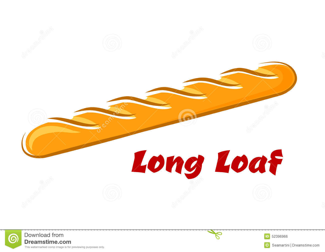 long loaf of baguette in cartoon style stock vector