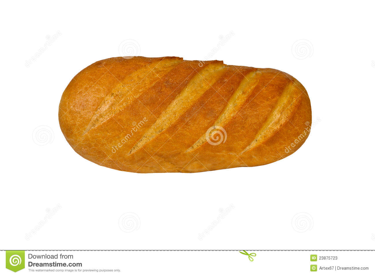 Long loaf of the soft baked white tommy