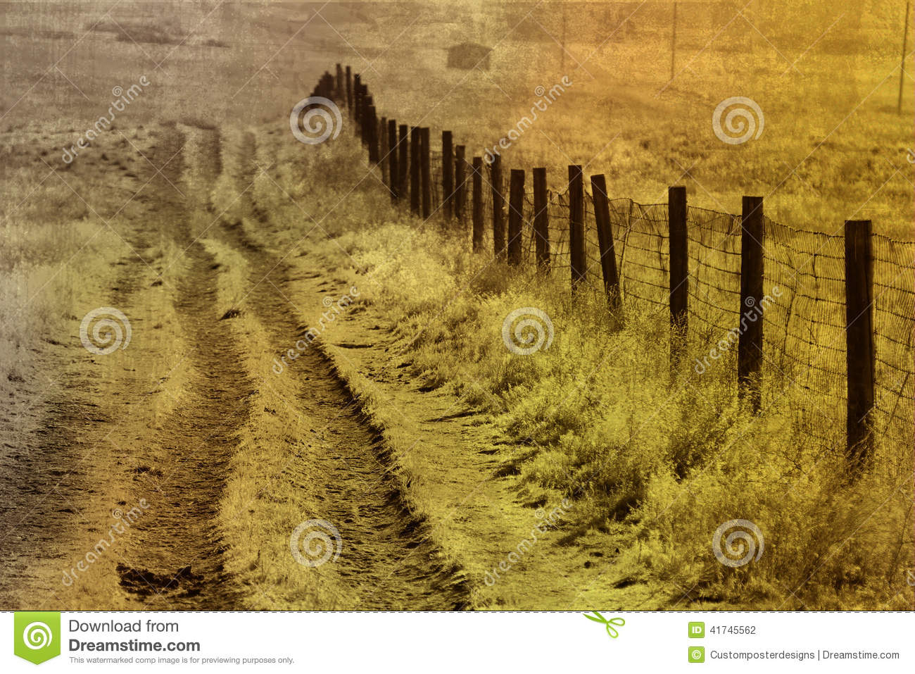 Download The long meadow road. stock photo. Image of fence, long - 41745562