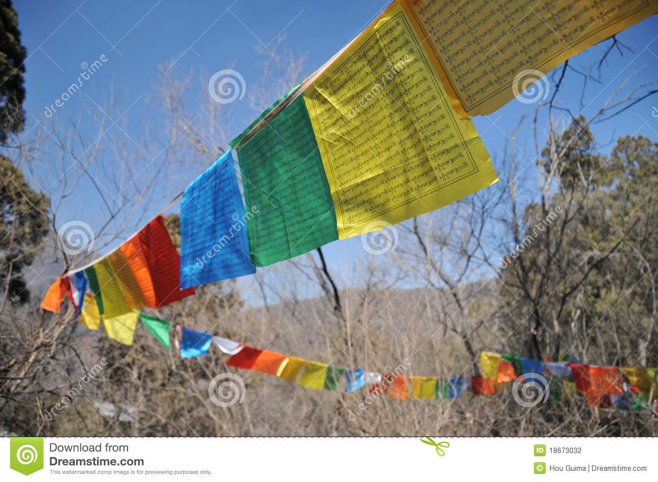 long narrow flag in tibet stock photo image of blessing 18673032