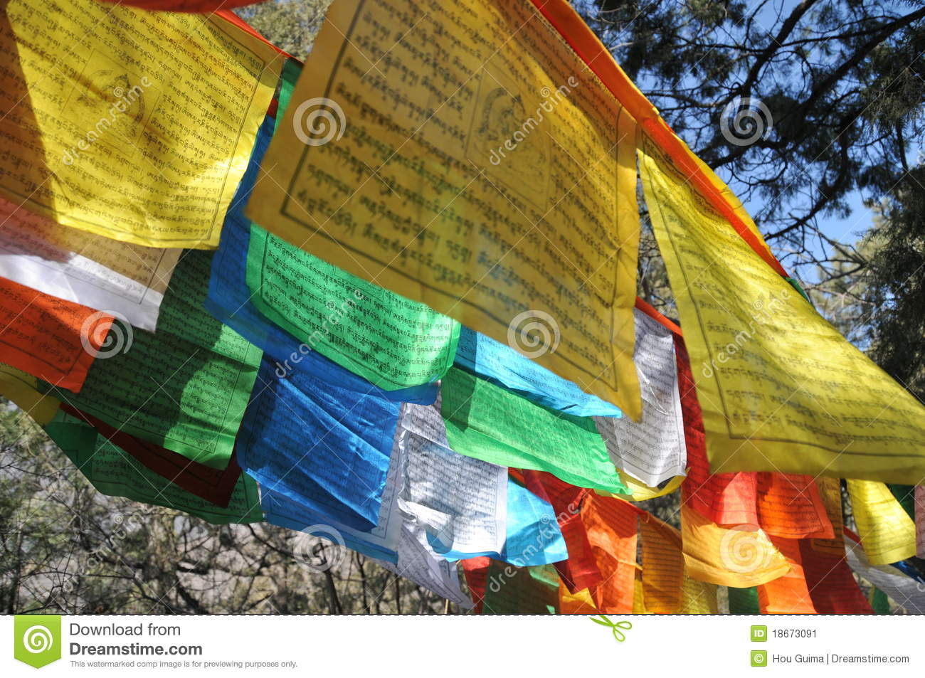 long narrow flag in tibet stock image image of buddhist 18673091