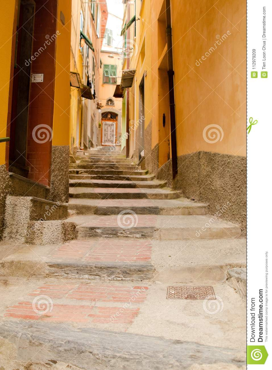 Long and narrow steps in the Italian village of Vernazza