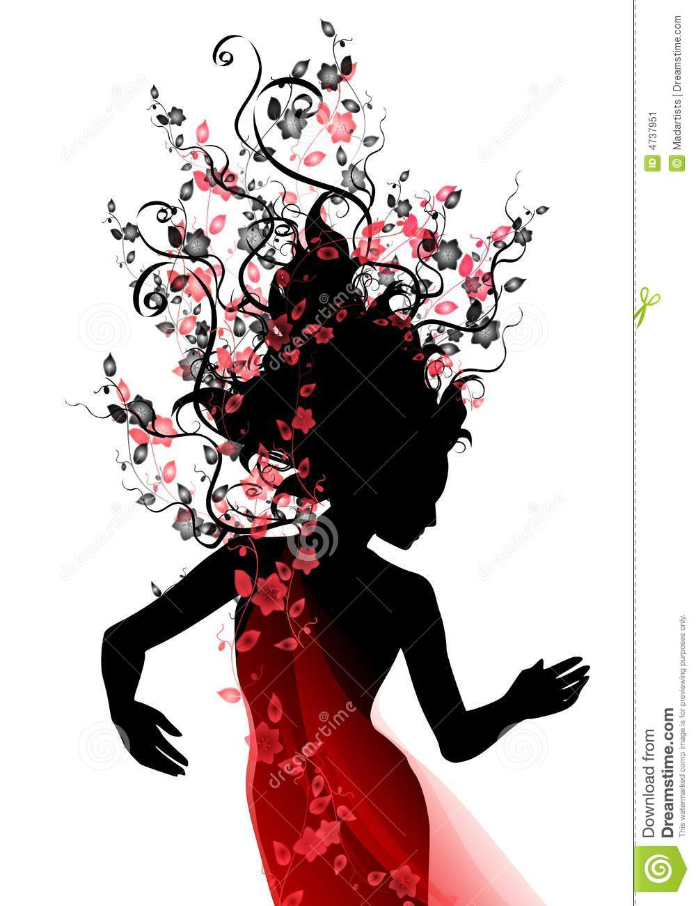 An illustration featuring the silhouette of a woman with long flowing ...