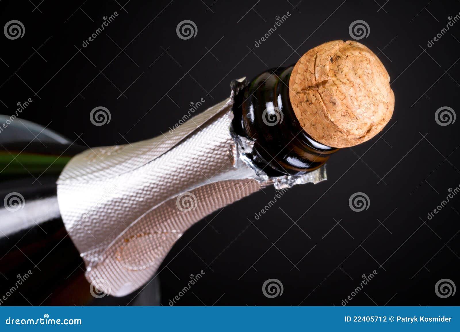 Long neck champagne bottle