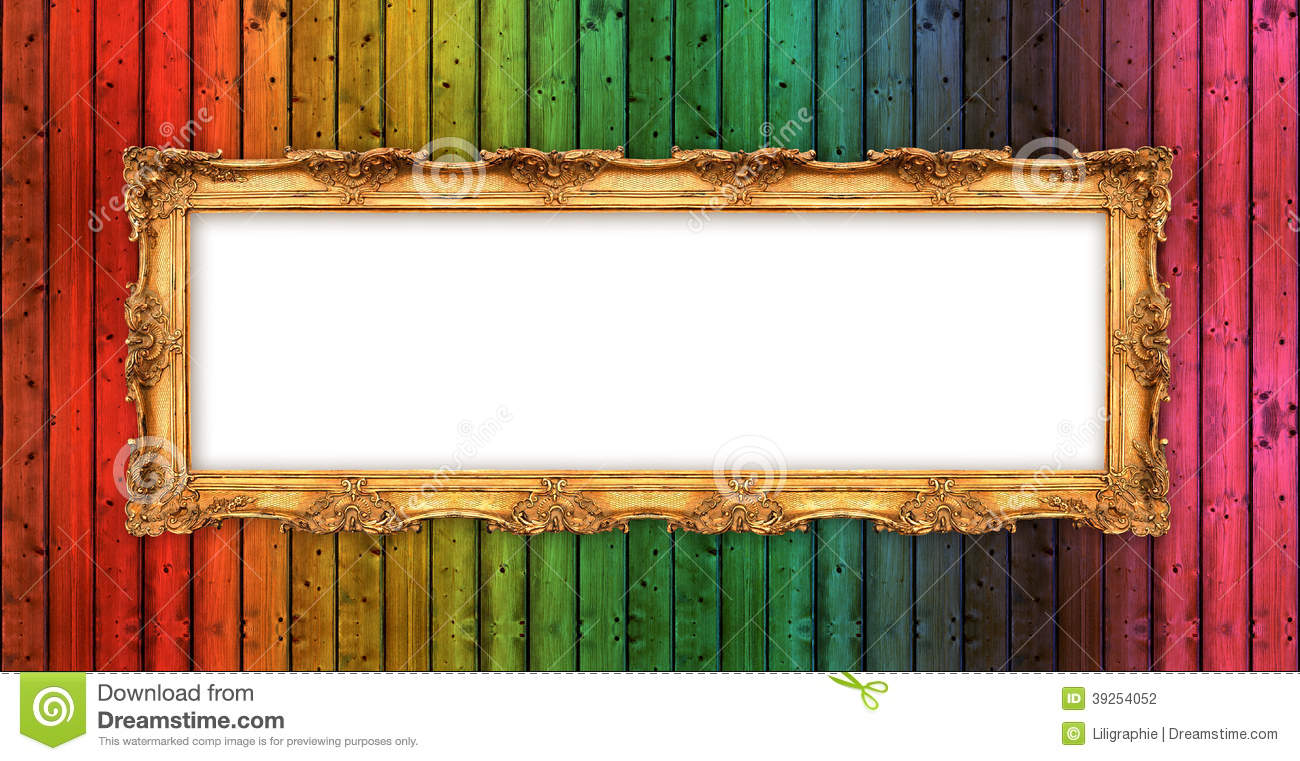 e272b221a331 Long Old Golden Frame Over Colorful Wooden Wall Stock Photo - Image ...
