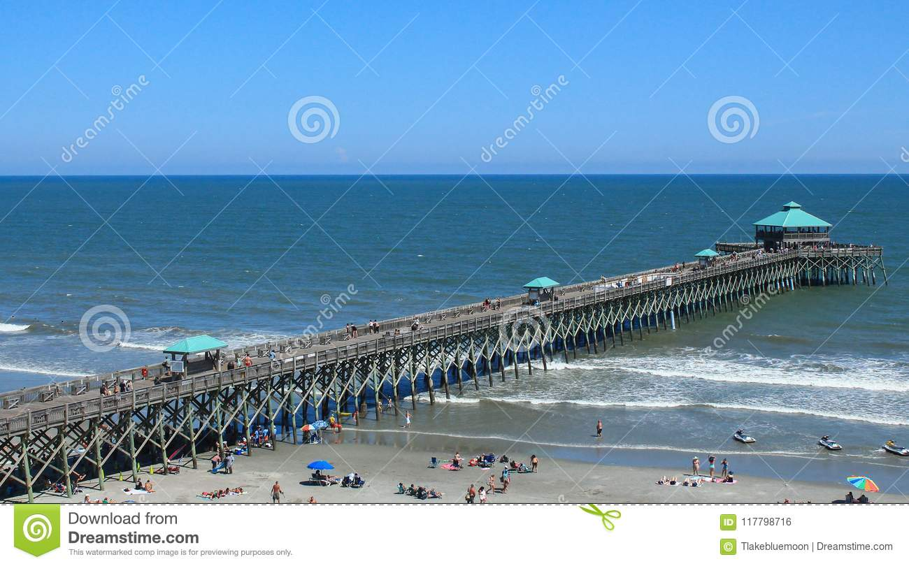 Long Pier View At Folly Beach In SC Stock Photo - Image of carolina