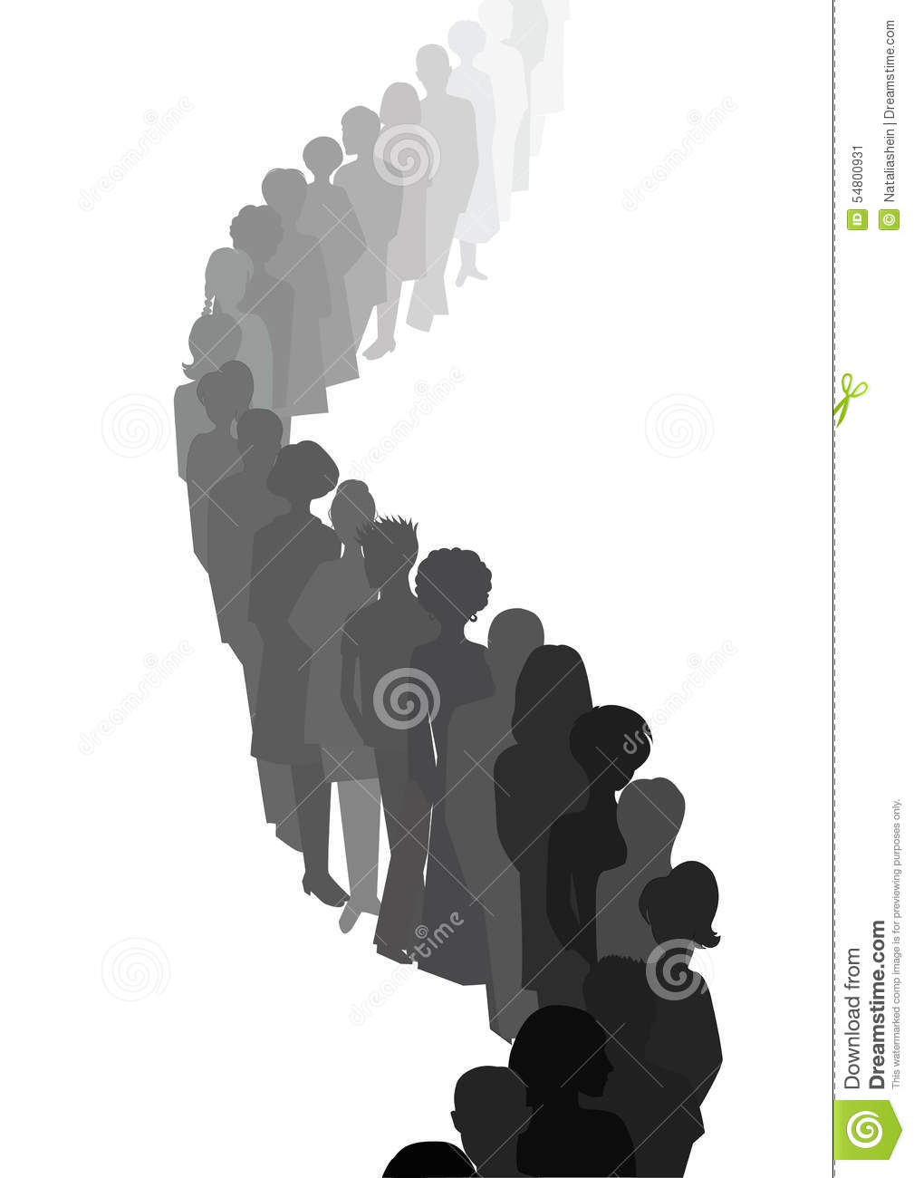 Long queue. People silhouettes