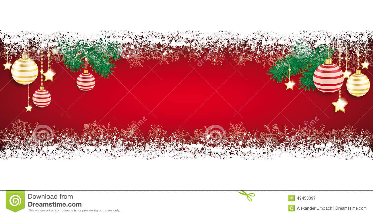 Long Red Baubles Christmas Card Snowflakes Stock Vector ...