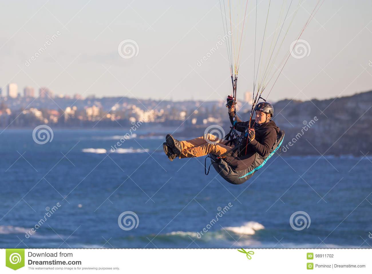 Paragliding in Sydney editorial photography  Image of reef