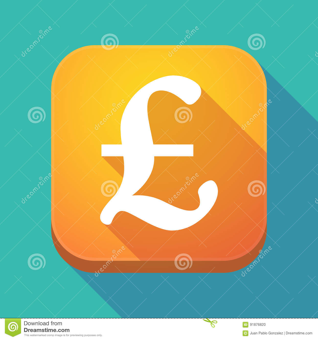 Long Shadow App Icon With A Pound Sign Stock Illustration