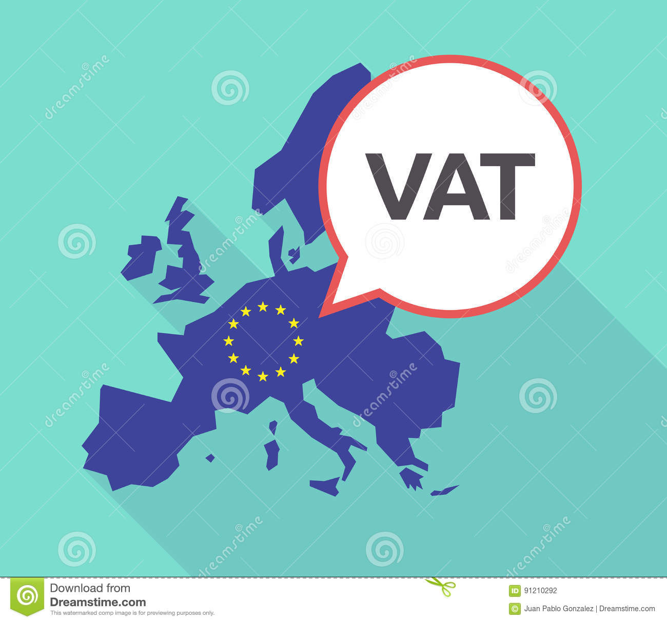 Long shadow EU map with the value added tax acronym VAT