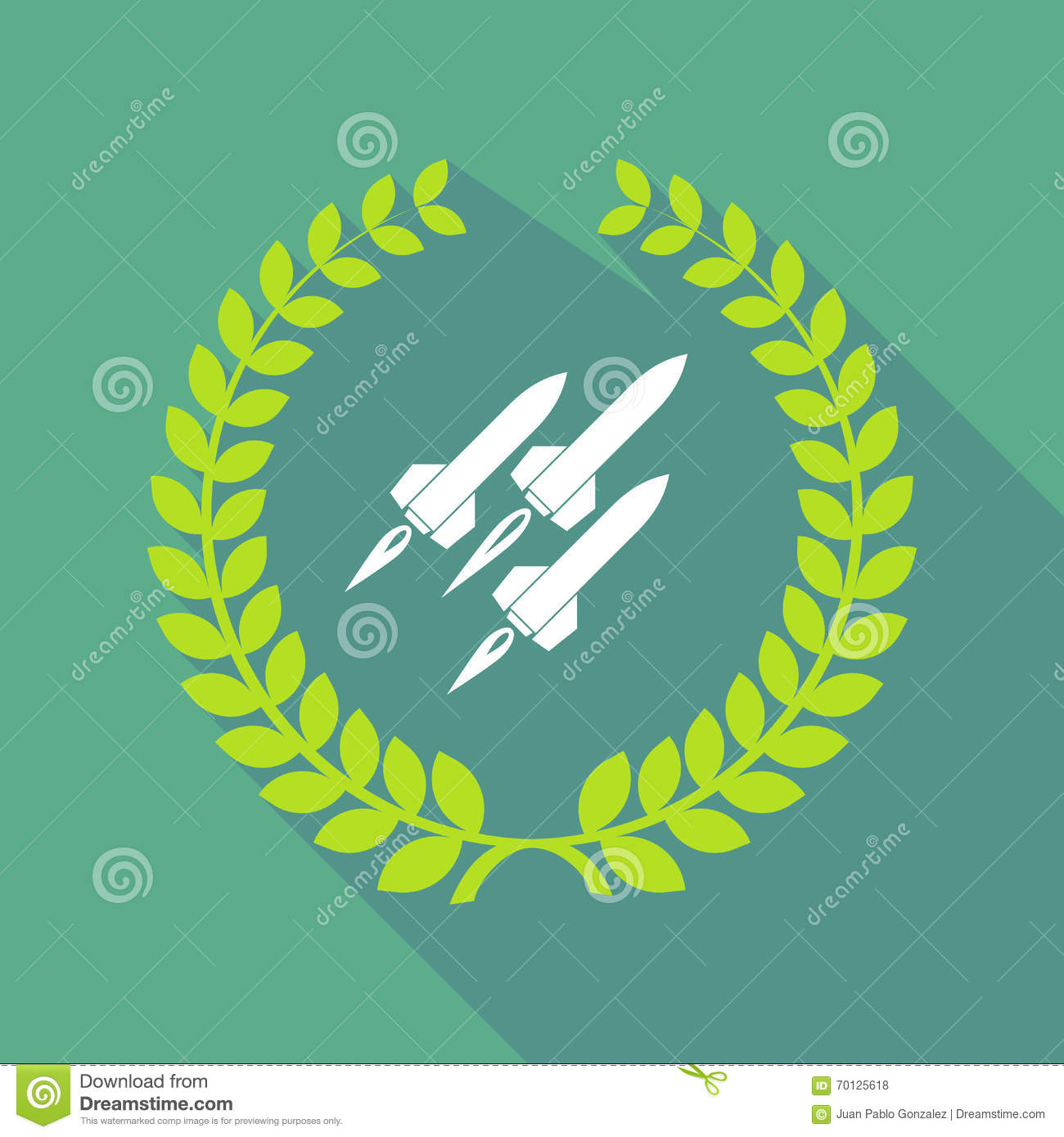 Long shadow laurel wreath icon with missiles