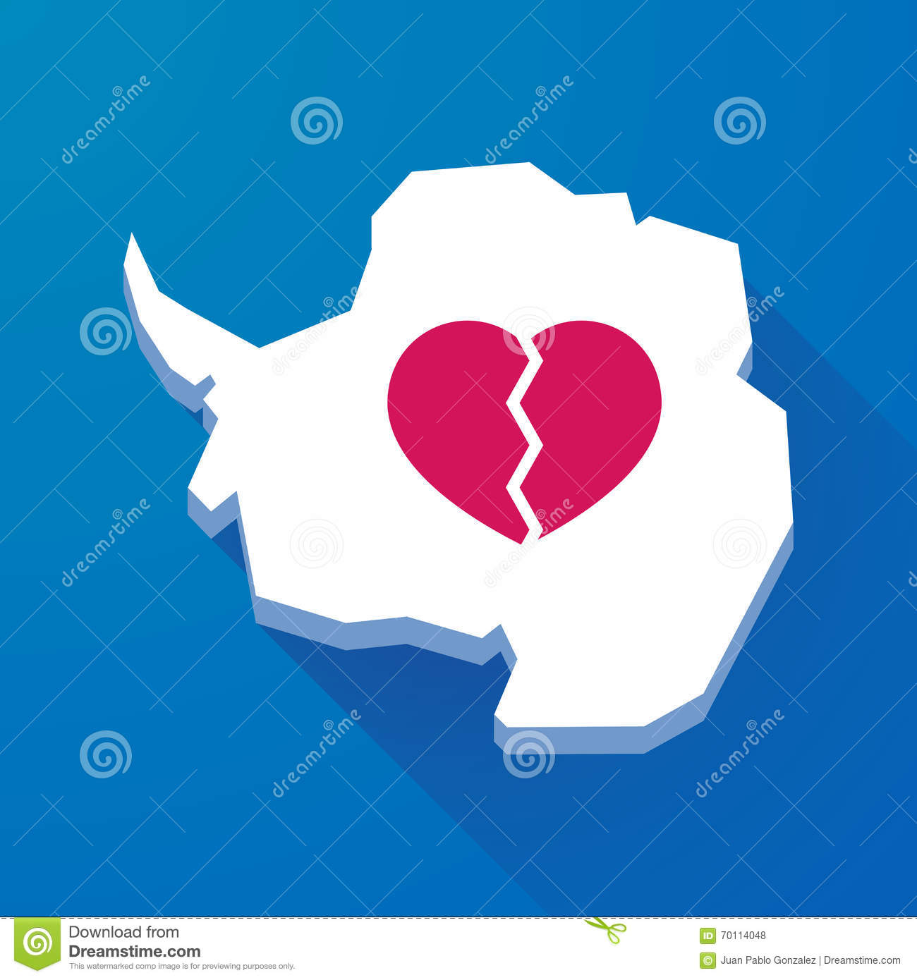 Long shadow map of Antarctica continent with a broken heart