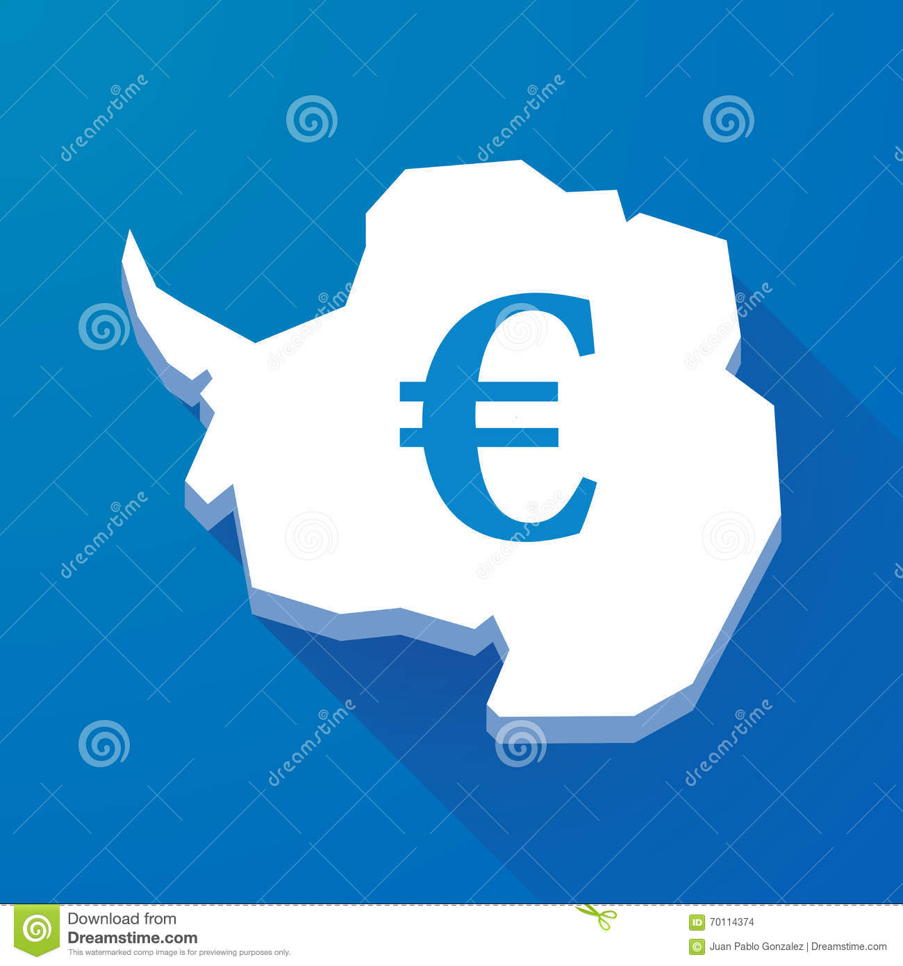 Long shadow map of Antarctica continent with an euro sign