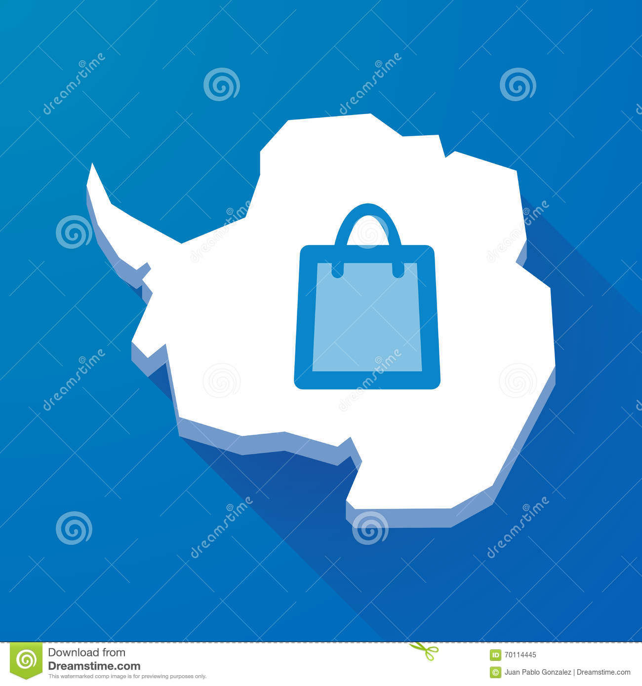 Long shadow map of Antarctica continent with a shopping bag
