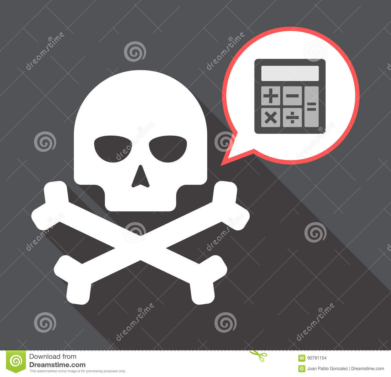 long shadow skull with a calculator stock illustration
