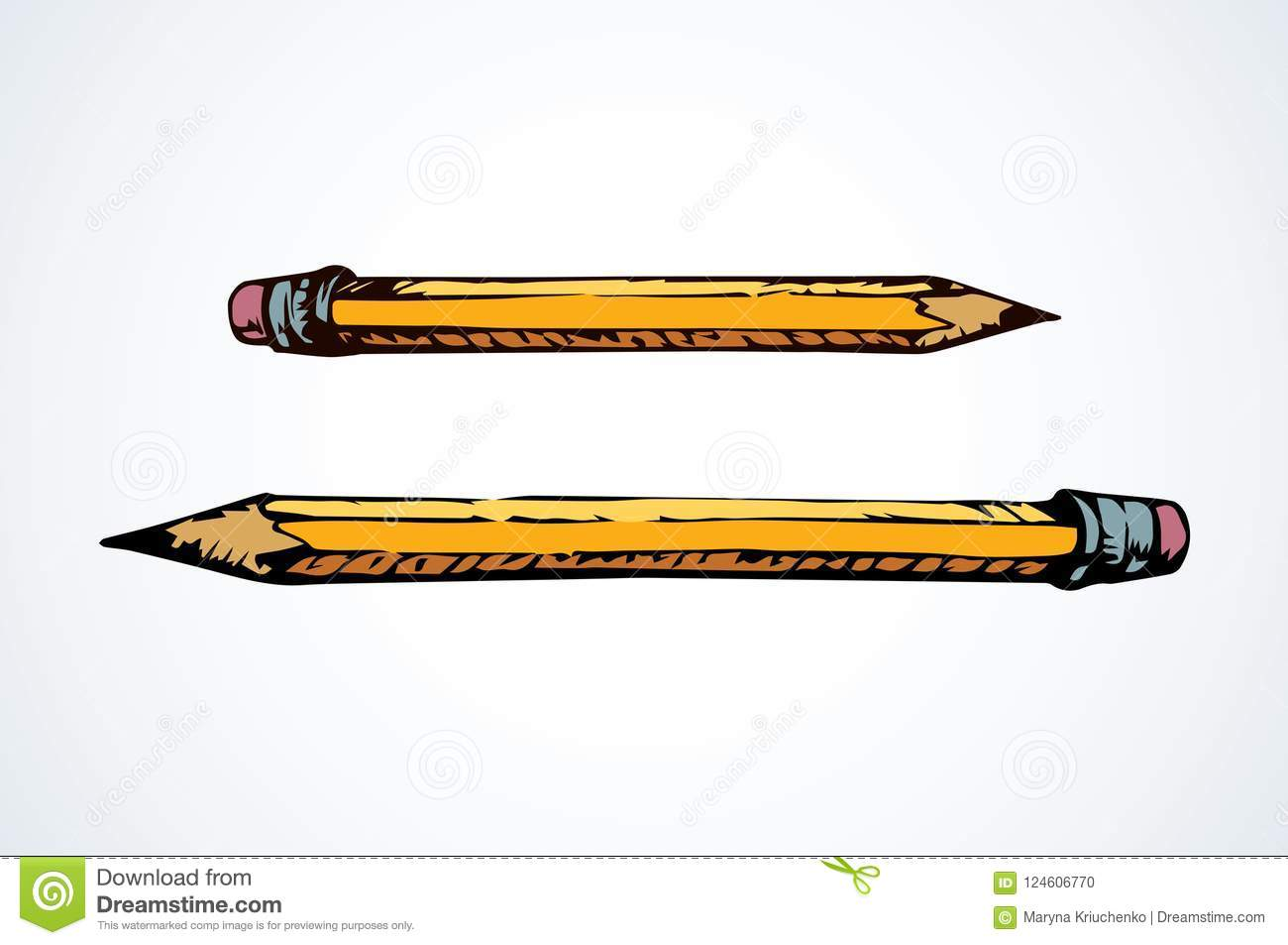 Pencil Vector Drawing Stock Vector Illustration Of School 124606770