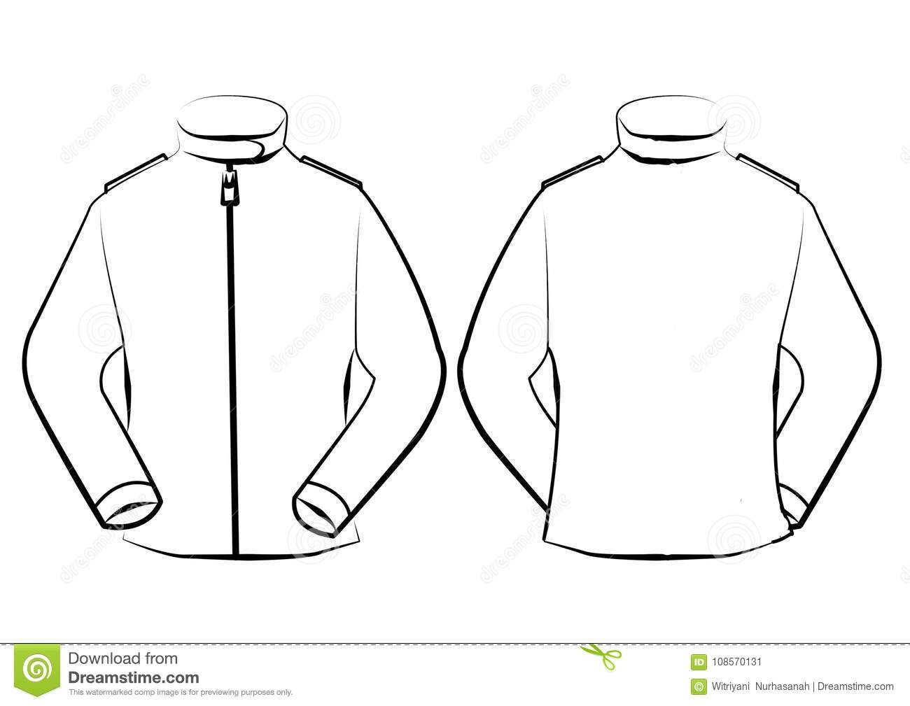 vector jacket template isolated on line art stock illustration