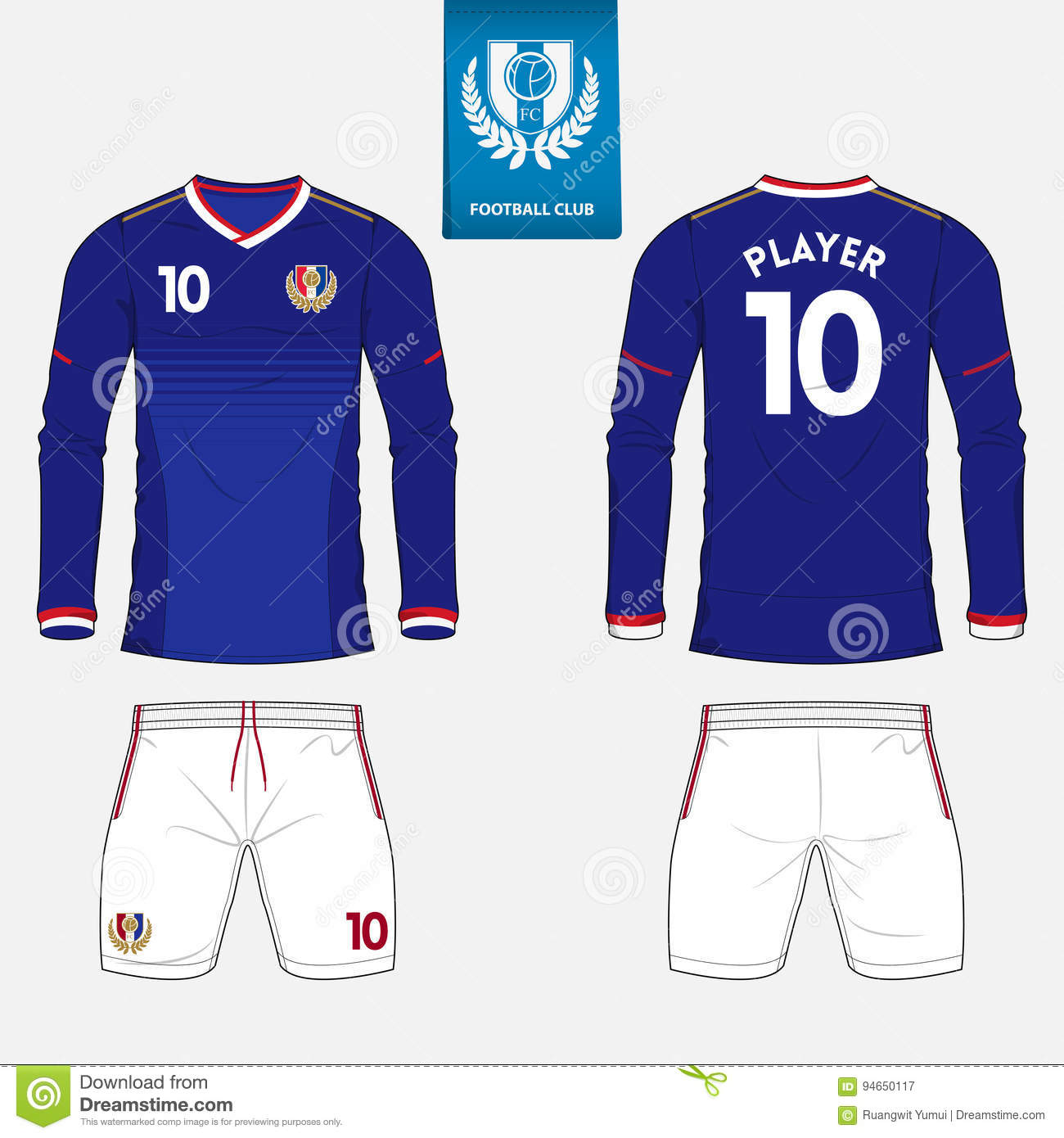 Long Sleeve Soccer Jersey Or Football Kit Template For Football